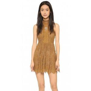 Free People Lace Mini Halter Dress (Golden Honey)